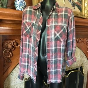 Distressed plaid flannel button down top